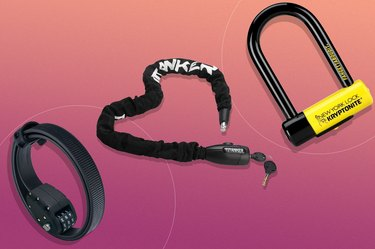 collage of the best bike locks of 2021 on a pink background