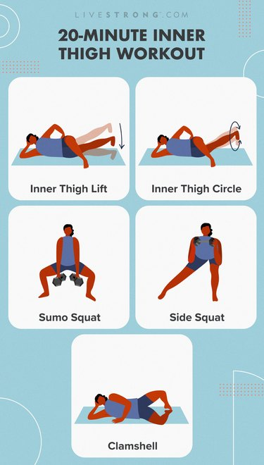 20-minute inner thigh workout illustration on blue background