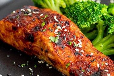 Hoisin glazed air fryer salmon recipe with a side of broccoli