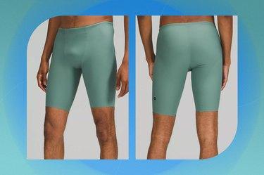 "sea green lululemon deep determination swim short 10"" on a blue-green background"