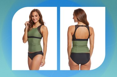 olive green and black sporti active high neck tankini on a blue-green background