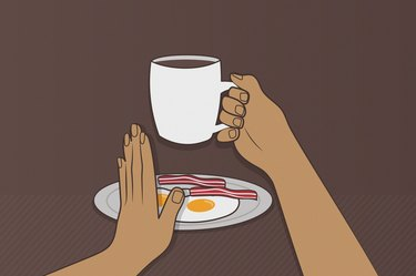 Illustration of a hand holding a mug of coffee and another hand saying no to breakfast, to represent drinking coffee on an empty stomach