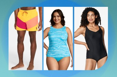 collage of swimsuits and swim trunks on a blue-green background