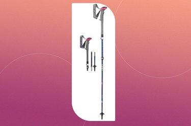 leki women's micro vario carbon trekking poles on a pink background