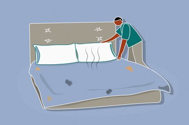 Illustration of a person making the bed with dirty sheets