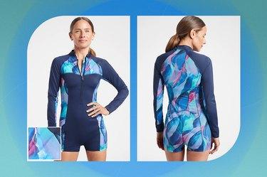 blue malibu printed paddlesuit ona blue-green background