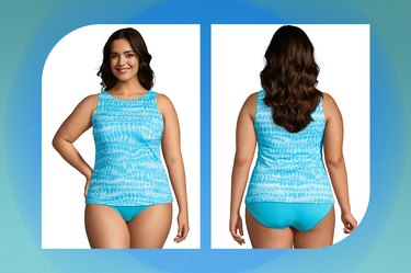 aqua blue land's end masectomy tankini swimsuit on a blue-green background