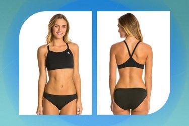 black TYR solid durafest one diamondback workout bikini on a blue-green background