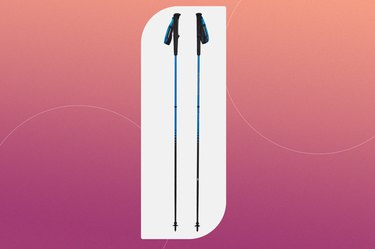 black diamond distance carbon running poles on a pink background
