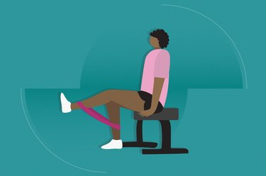 illustration of the leg extension exercise with a resistance band around the ankles