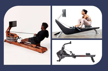 collage of the best rowing machines isolated on a navy blue background