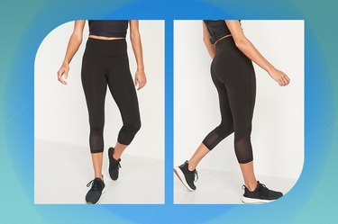 Old Navy High-Waisted Elevate Mesh-Trim Compression Crop Leggings