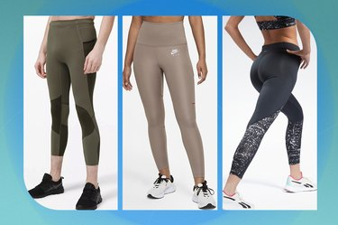 collage of the best running leggings isolated on a blue background