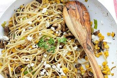 Leek Mushroom Fettuccine With Corn and Feta