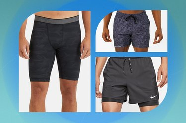 collage of the best men's workout shorts isolated on a blue background