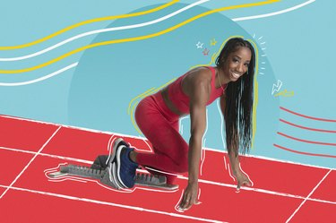 """Team USA Olympic hurdler Kendra """"Keni"""" Harrison in starting blocks on illustrated red track with blue background"""