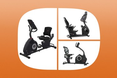 collage of the best exercise bikes with back support isolated on an orange background