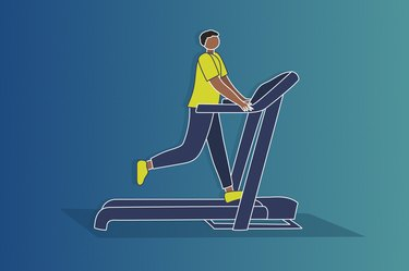 Illustration of someone running on a treadmill, holding on to the railings