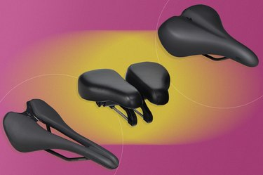 collage of the best bike seats for prostate health isolated on a pink and yellow background