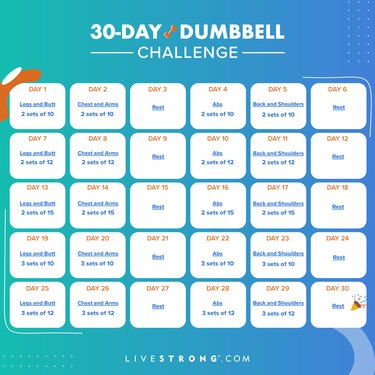 square 30-day dumbbell challenge calendar graphic