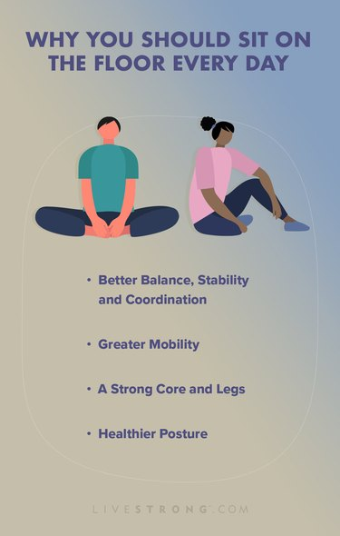 benefits of floor sitting listed with character illustrations