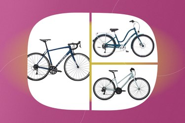 a collage of the best bikes for seniors isolated on a pink background