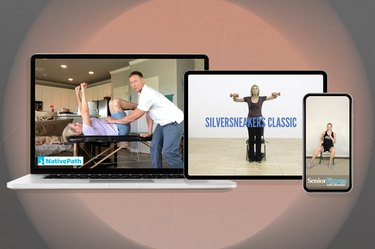 a collage a computer, tablet and phone displaying the best exercise videos for seniors isolated on a neutral background