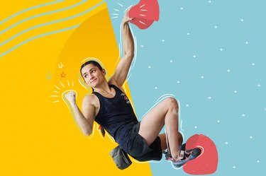 mixed media collage of Olympic rock climber Kyra Condie bouldering on a yellow and blue background