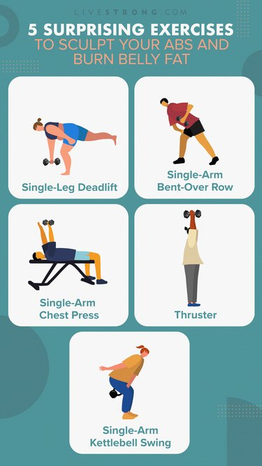 illustration of five compound ab exercises isolated on a teal background