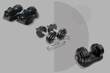 collage photo of adjustable dumbbells on a gray background