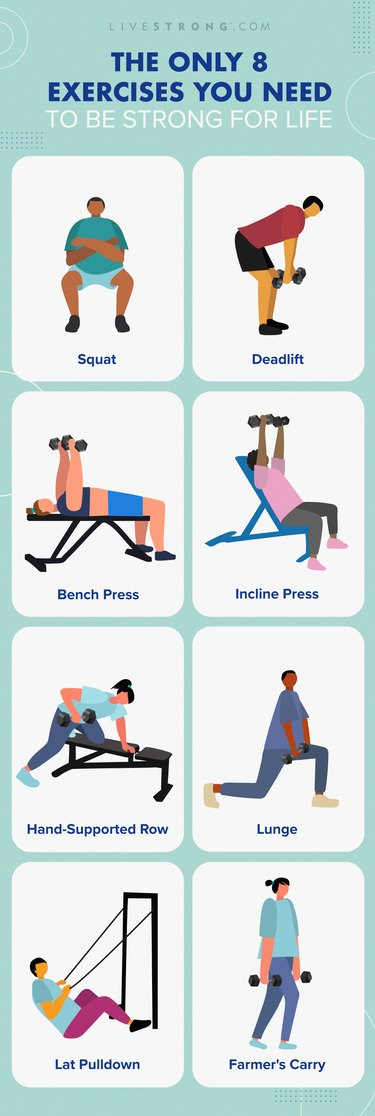illustration of the best functional exercises for longevity isolated on a light mint background