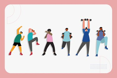 illustration of six people doing a low-impact fat burning cardio workout isolated on a white background