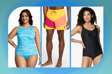 collage of the best swimsuits and swim trunks on a blue-green background