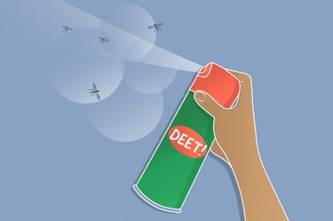 Illustration of a can of DEET being sprayed on mosquitos