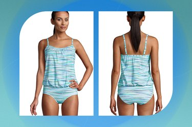 Land's End Mastectomy Blouson Tankini Swimsuit