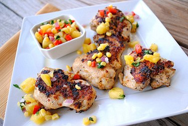 Grilled Chicken Thighs With Pineapple, Corn and Bell Pepper Relish