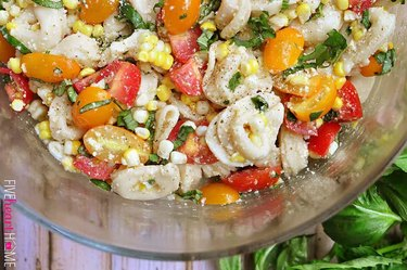 Tortellini Pasta Salad With Tomatoes, Basil and Fresh Corn