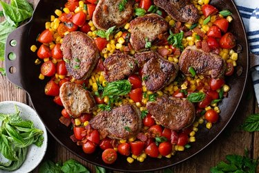 Pork Medallions With Corn, Tomatoes and Bacon