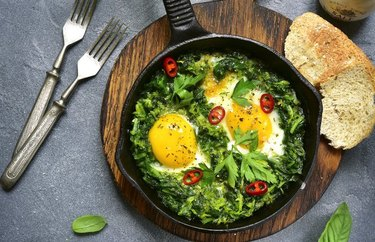 Southern-Style Green Breakfast Skillet with toasted bread and forks