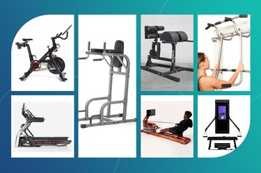 collage of the best gym machines for abs isolated on a teal background