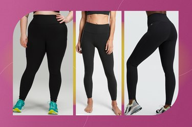 collage of the best black workout leggings isolated on a pink background
