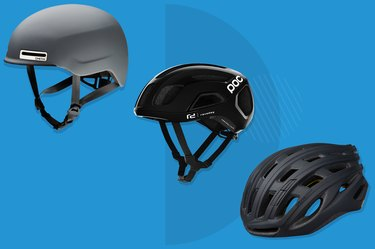 collage of the best bike helmets isolated on a blue background
