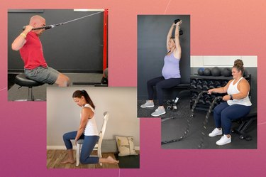 collage of the best seated exercises on a pink background