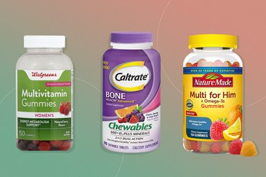 chewable supplements on ombre pink green background