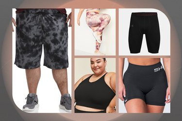 collage of the best plus-size workout clothes for women and men