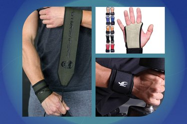 collage of the different types of best wrist wraps for lifting isolated on a blue background