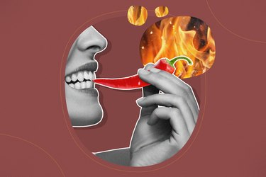 mixed graphic showing woman eating spicy pepper with flames