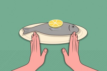 illustration showing hands gesturing no to fish on plate