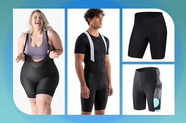 collage of the best bike shorts and cycling bibs