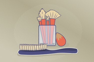 Illustration of dirty hair and makeup brushes